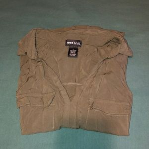 Olive Collared No Button Tank